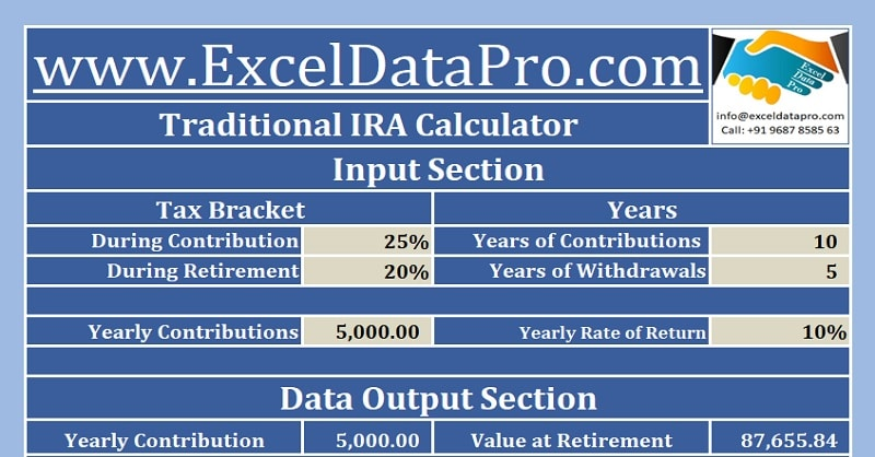 download traditional ira calculator excel template exceldatapro