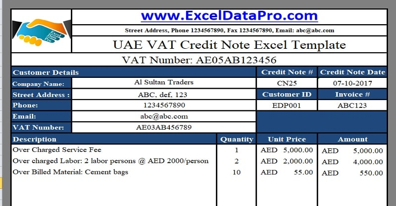 Download UAE VAT Credit Note Excel Template - ExcelDataPro