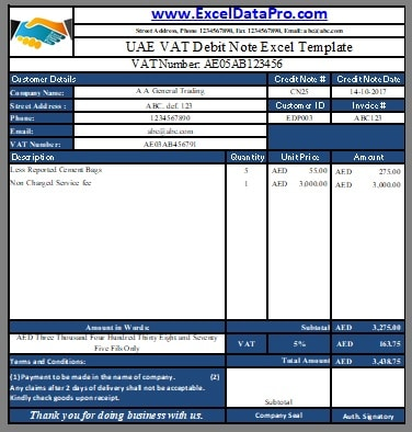 UAE VAT Debit Note Template