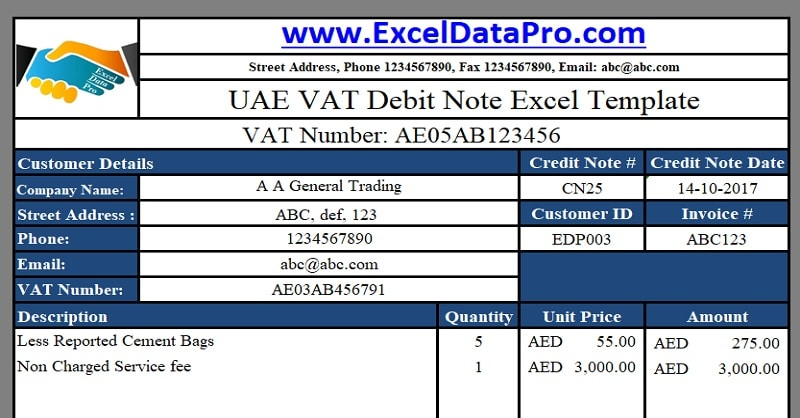 Download UAE VAT Debit Note Excel Template