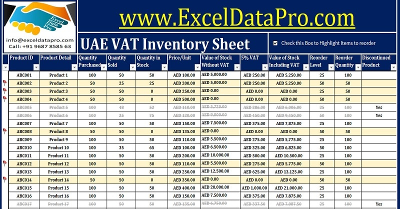 Download UAE VAT Inventory Management Excel Template