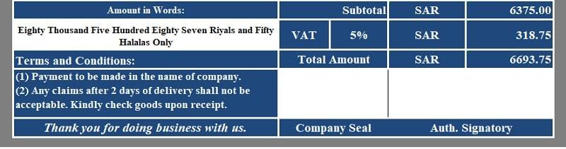 VAT Credit Note Template