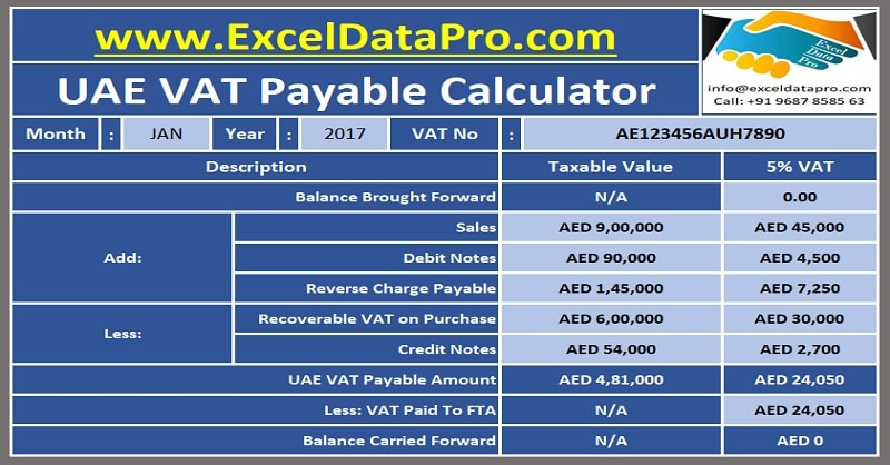 Download UAE VAT Payable Calculator Excel Template