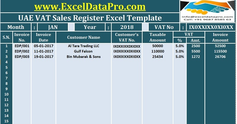 UAE VAT Sales Register