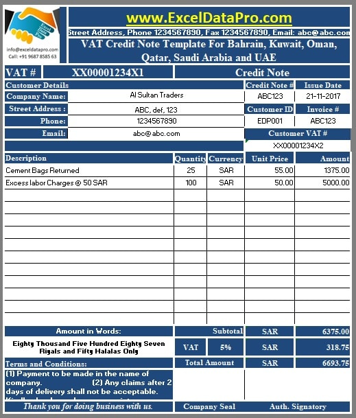 VAT Credit Note Template