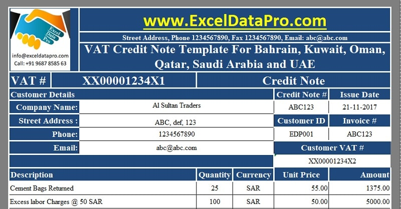 Download VAT Credit Note Template for Bahrain, Kuwait, Oman, Qatar, Saudi Arabia and UAE