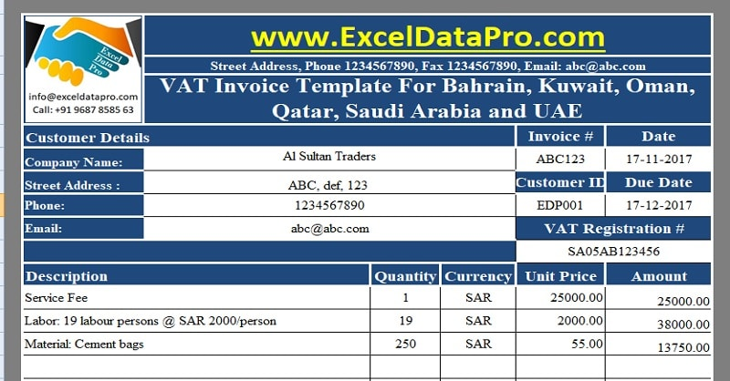 Download Vat Invoice Template For Bahrain Kuwait Oman Qatar