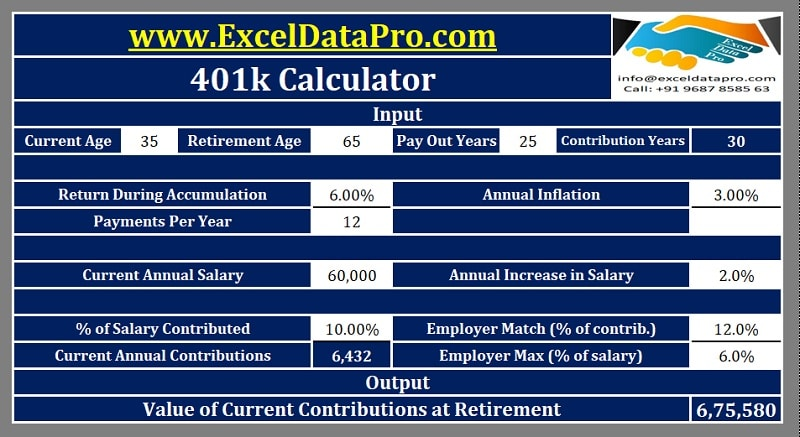 Download 401k Calculator Excel Template - ExcelDataPro