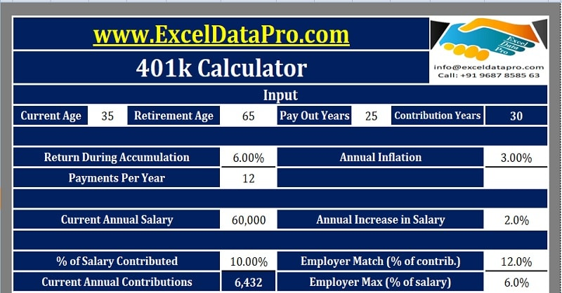 Download 401k Calculator Excel Template