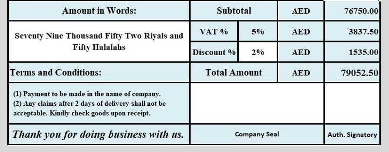 GCC VAT Invoice Template With Discount