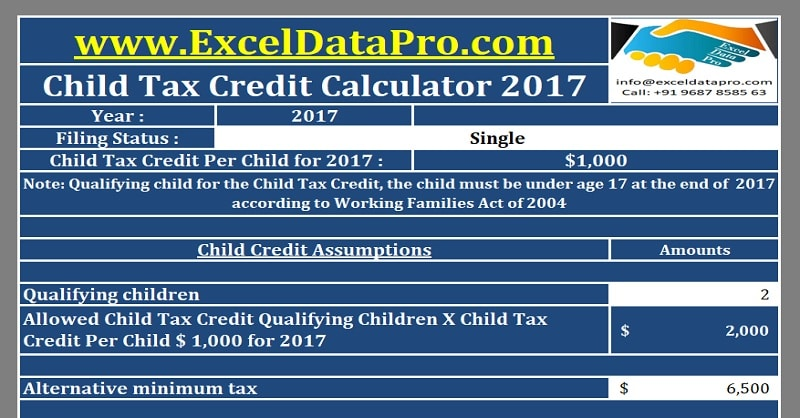 Download Child Tax Credit Calculator Excel Template
