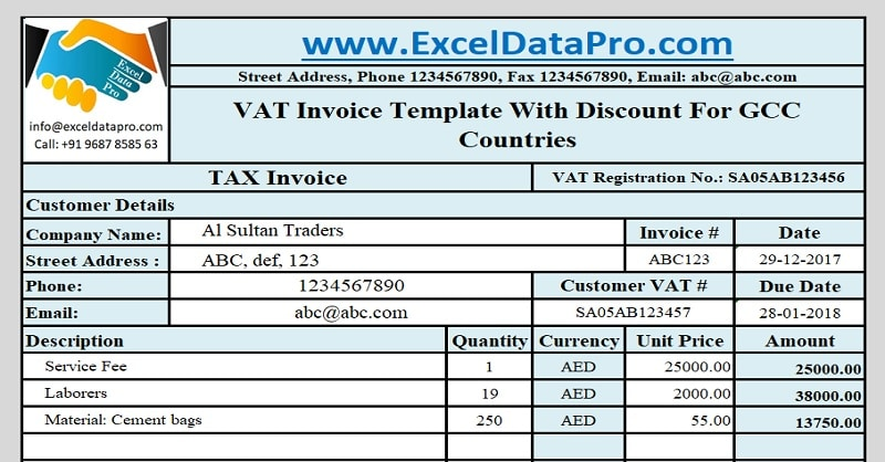 Download GCC VAT Invoice Template With Discount