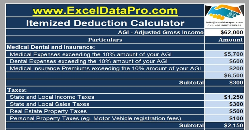Download Itemized Deductions Calculator Excel Template