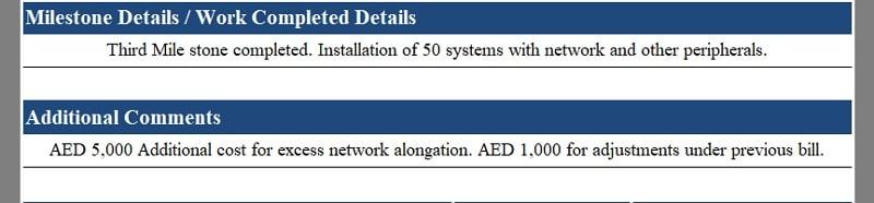 UAE VAT Progress Billing Invoice