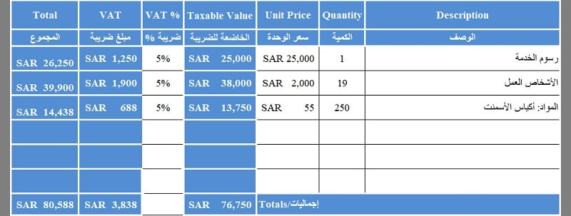 Bilingual Saudi VAT Invoice
