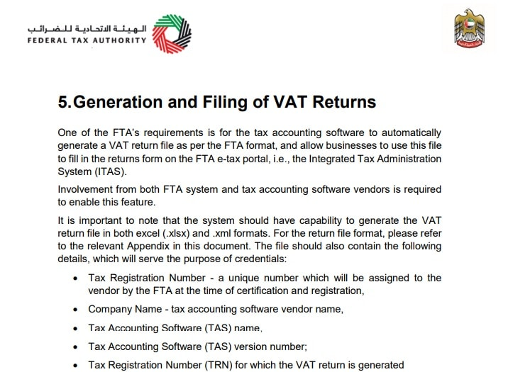 UAE VAT Return Format