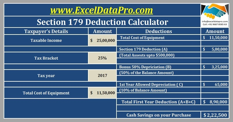 Download Section 179 Deduction Calculator Excel Template