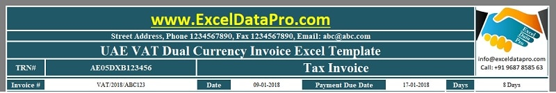 UAE VAT Dual Currency Invoice