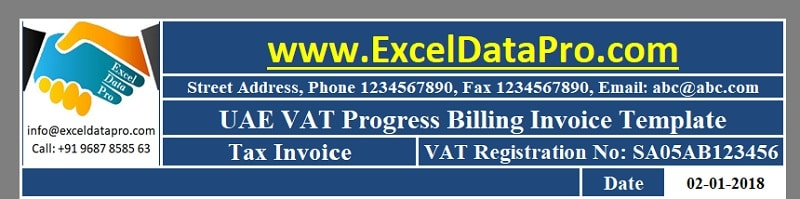 UAE VAT Progress Billing Invoice