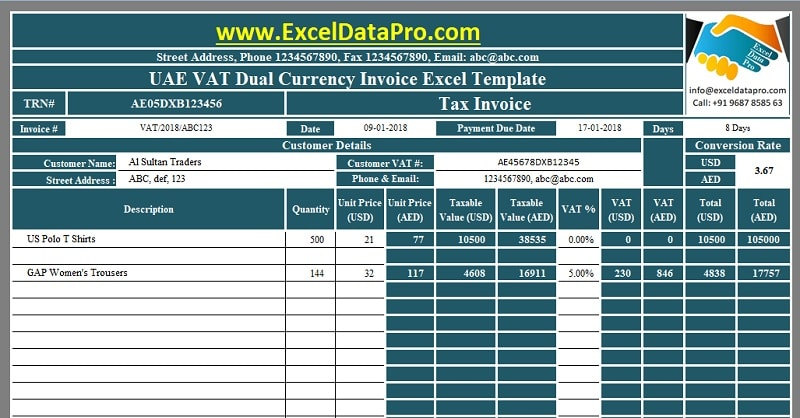 Download UAE VAT Dual Currency Invoice Excel Template