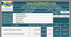 UAE VAT Multiple Tax Invoice
