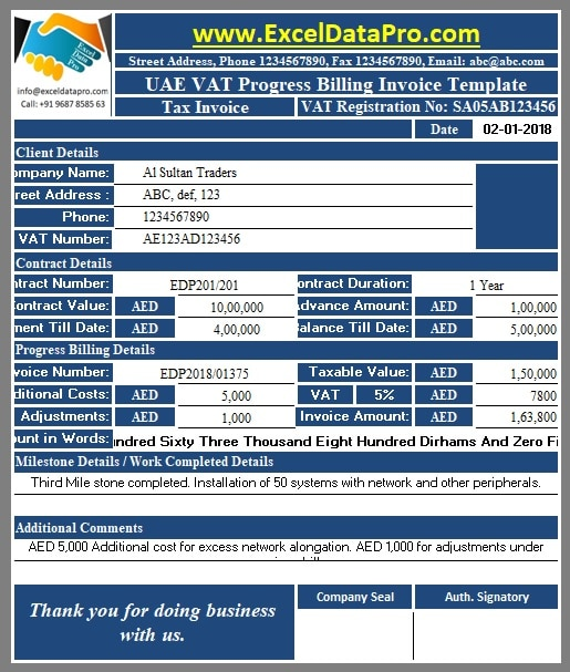 Download Uae Vat Progress Billing Invoice Excel Template
