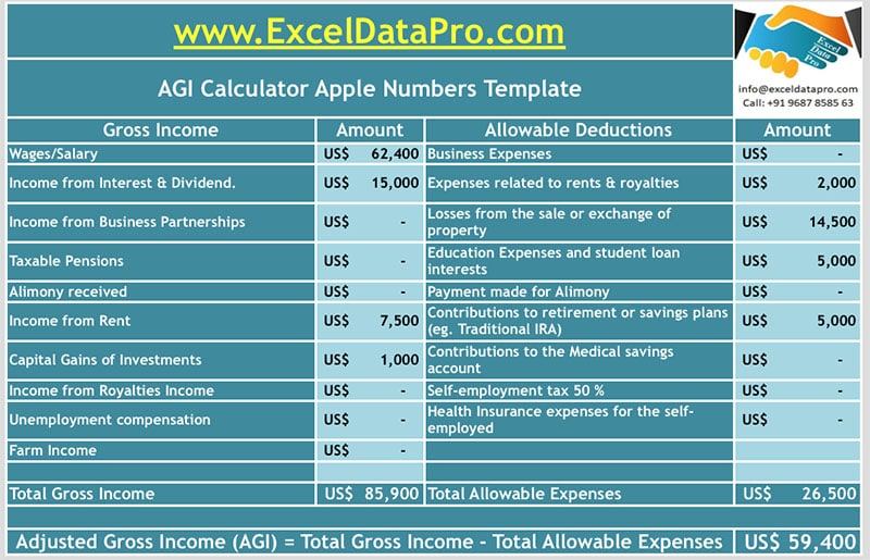 AGI Calculator Apple Numbers Template