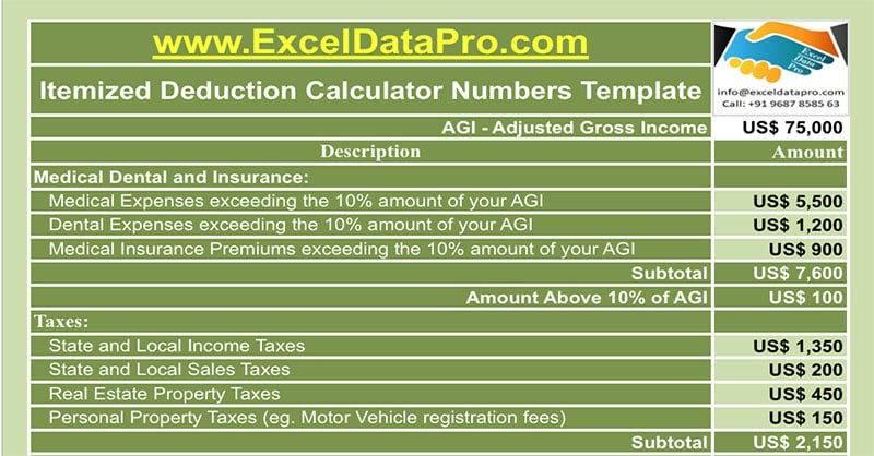 Download Itemized Deduction Calculator Apple Numbers Template