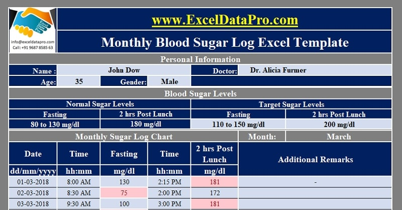 Download Monthly Blood Sugar Log With Charts Excel Template