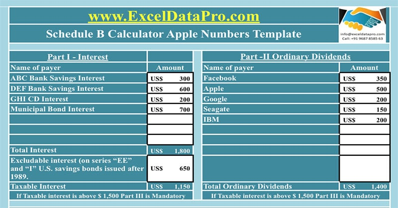 Schedule B Calculator Apple Numbers Template