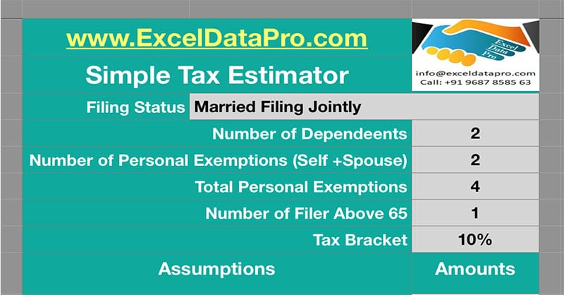 Simple Tax Estimator Numbers Template