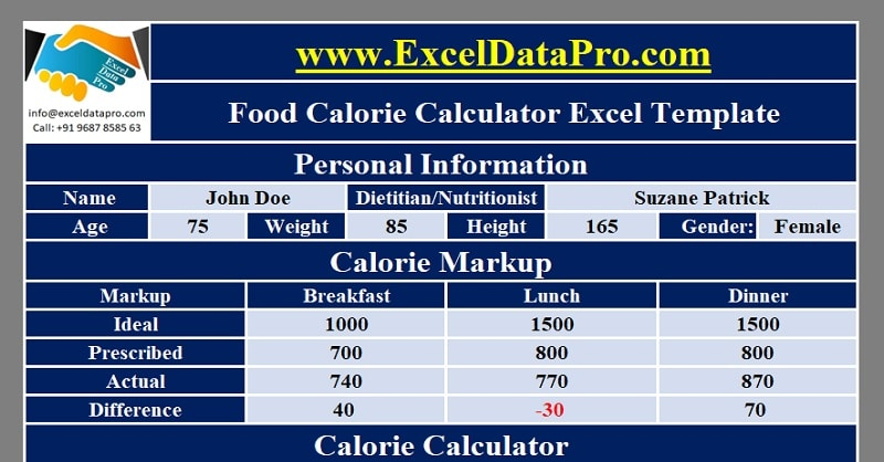 Download Food Calorie Calculator With Monthly Calorie Log Excel Template