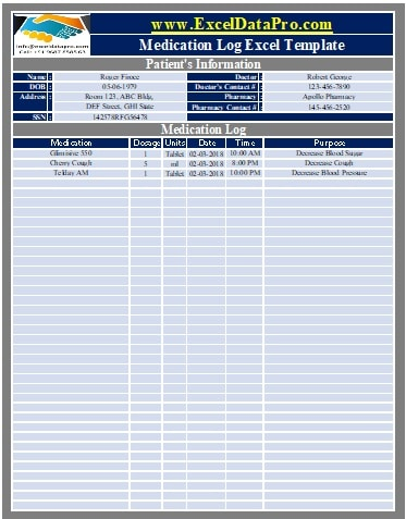 Download Medication Log Excel Template Exceldatapro