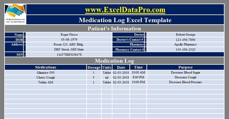 Medication Log Excel Template