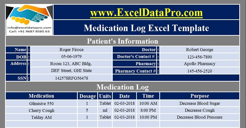 Download Medication Log Excel Template