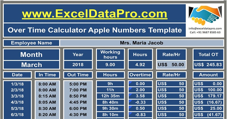 Download Overtime Calculator Apple Numbers Template