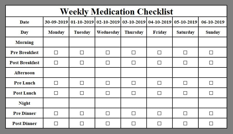 Printable Medication Checklist