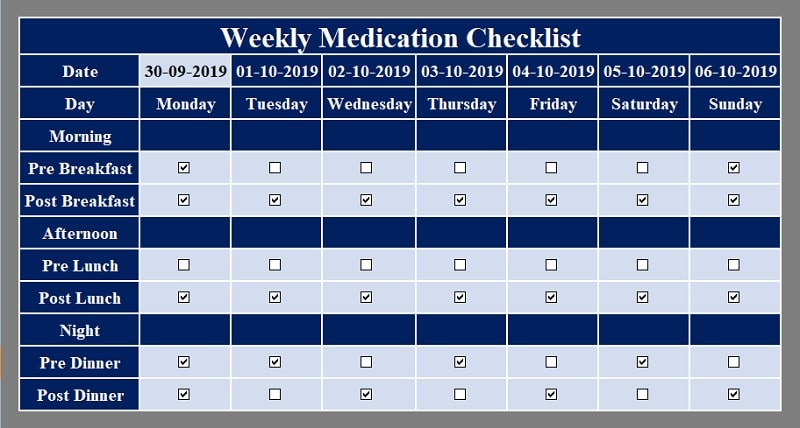 Weekly Medication Checklist