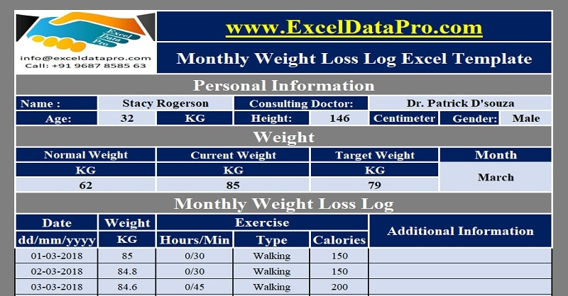 Download Monthly Weight Loss Log Excel Template
