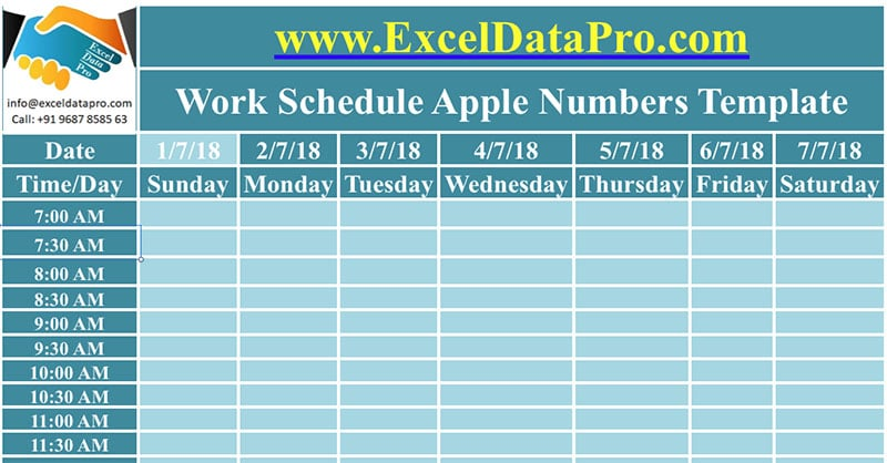 Daily Work Schedule Apple Numbers Template