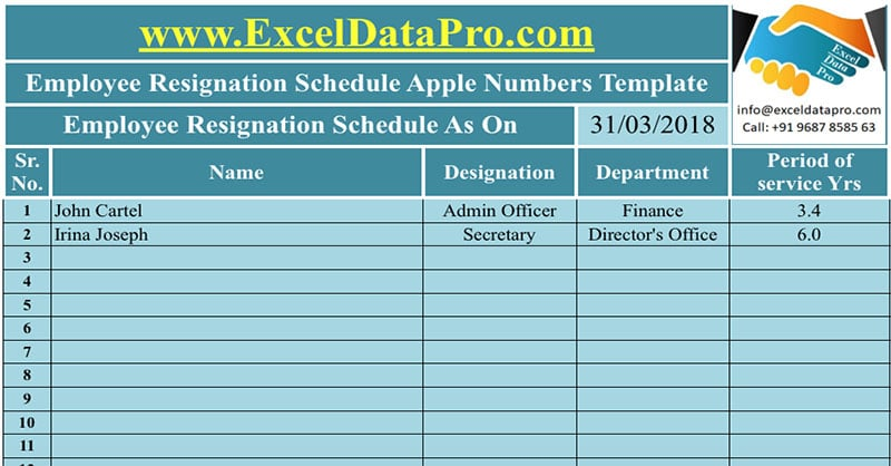 Download Employee Resignation Schedule Apple Numbers Template