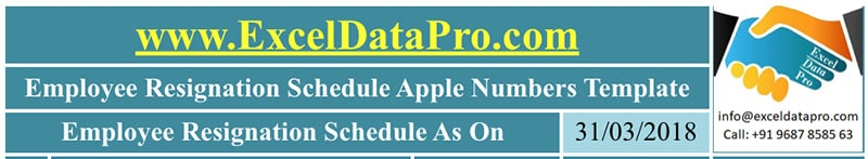 Employee Resignation Schedule Apple Numbers Template