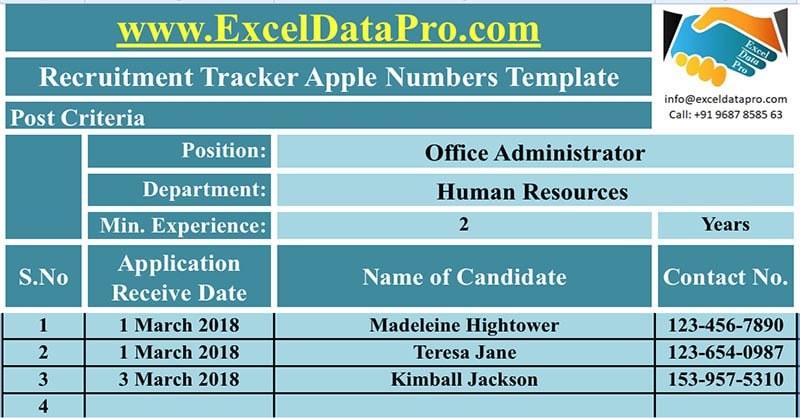 Download Recruitment Tracker Apple Numbers Template