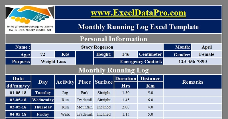 Download Monthly Running Log Excel Template