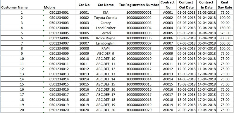UAE VAT Invoice Format for Rent A Car Business