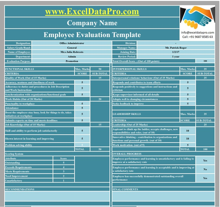 Purpose Employee Evaluation | Download Employee Evaluation Apple Numbers Template Exceldatapro