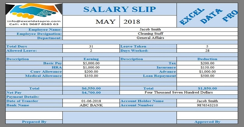 9 Ready-To-Use Salary Slip Excel Templates