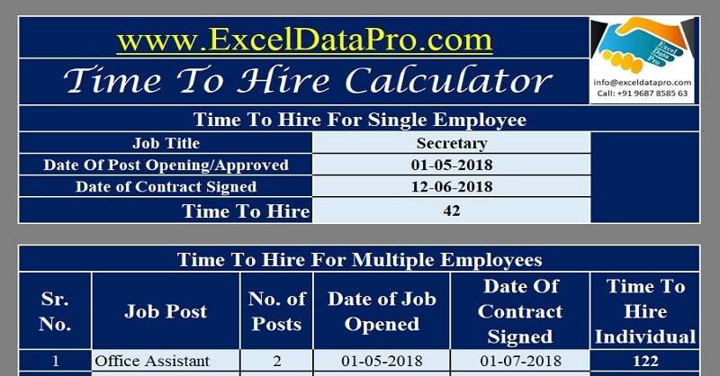 Download Time To Hire Calculator Excel Template