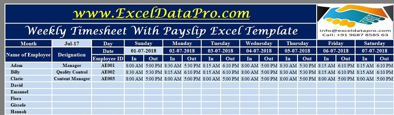 Weekly Timesheet With Payslip