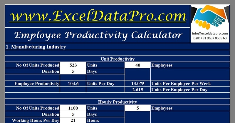 Download Employee Productivity Calculator Excel Template